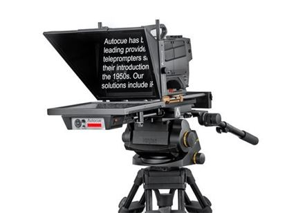 "Picture of Autocue Master Series 17"" Prompter with Long Rods for Large Studio Lens on Pedestal"